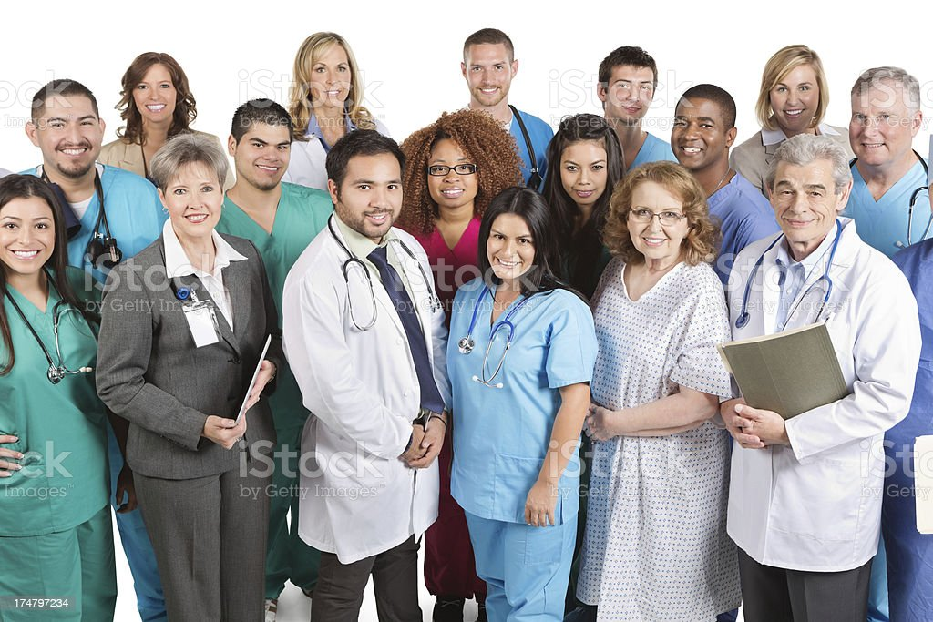 Large happy group of hospital doctors nurses and staff royalty-free stock photo