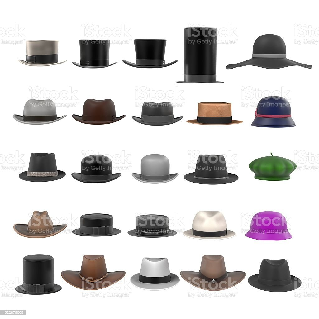 large hats collection stock photo
