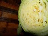 large head of cabbage in a cut