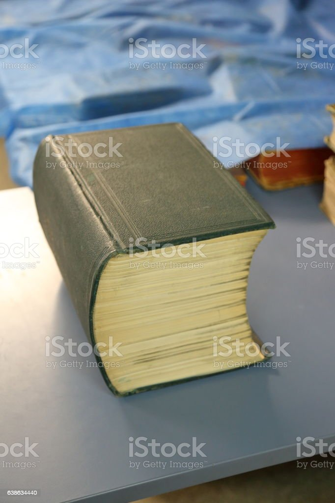 Large heavy book stock photo