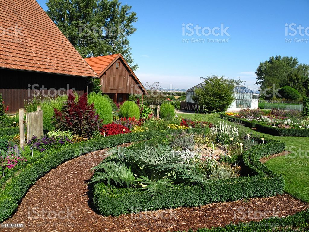 Large herb garden stock photo