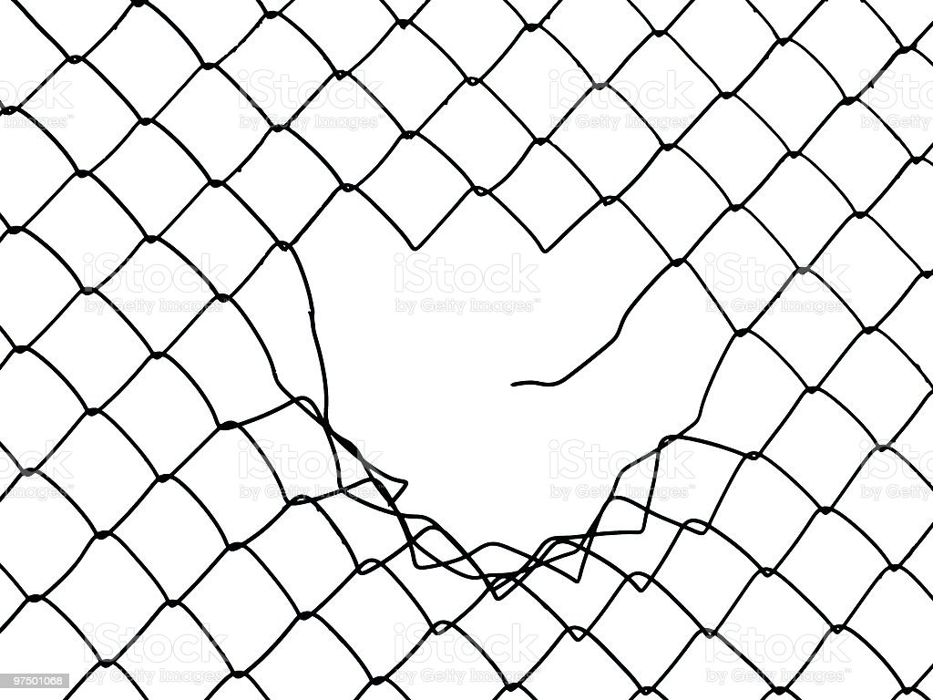 Large hole in a black wired fence stock photo