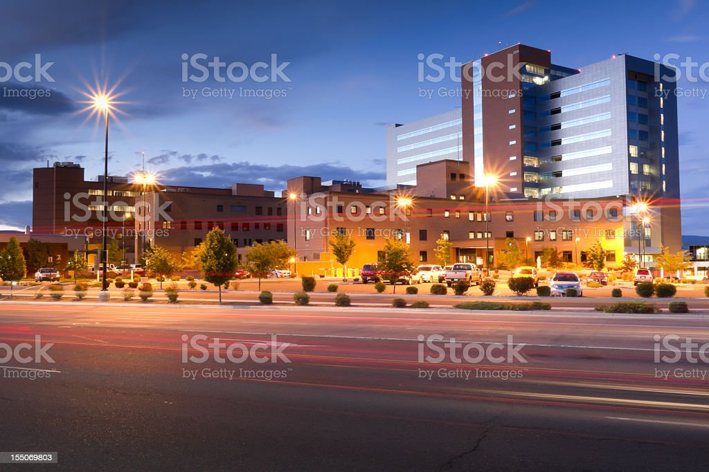 Large Hospital at Dusk stock photo