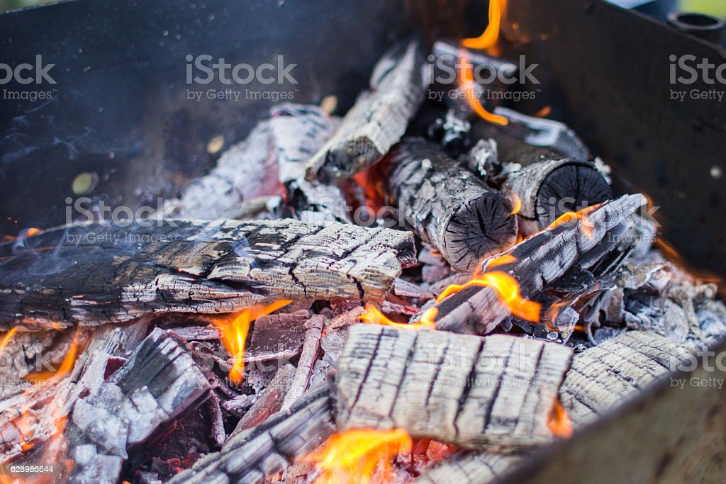 Large hot charcoal after fire stock photo