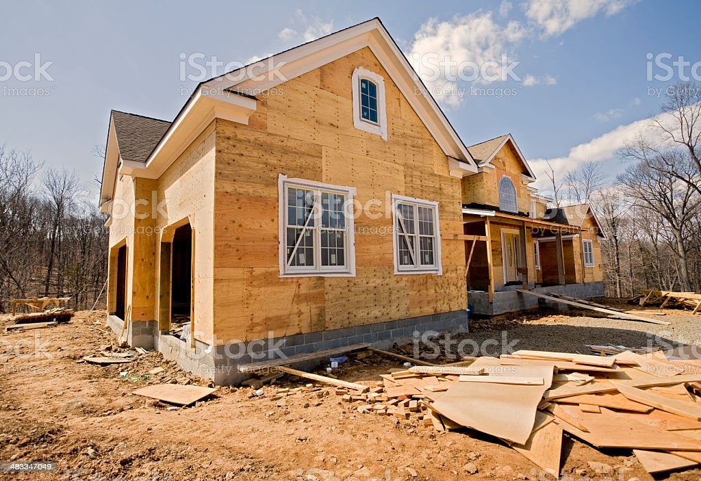 Large House Construction Site stock photo