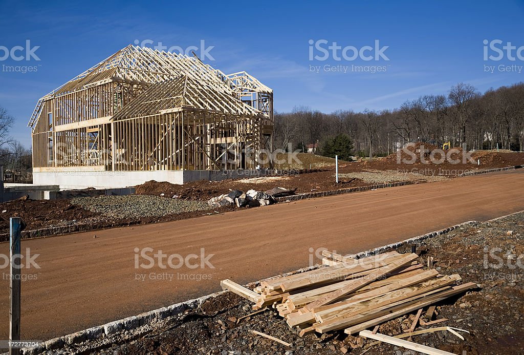 Large House Framing on the Street royalty-free stock photo