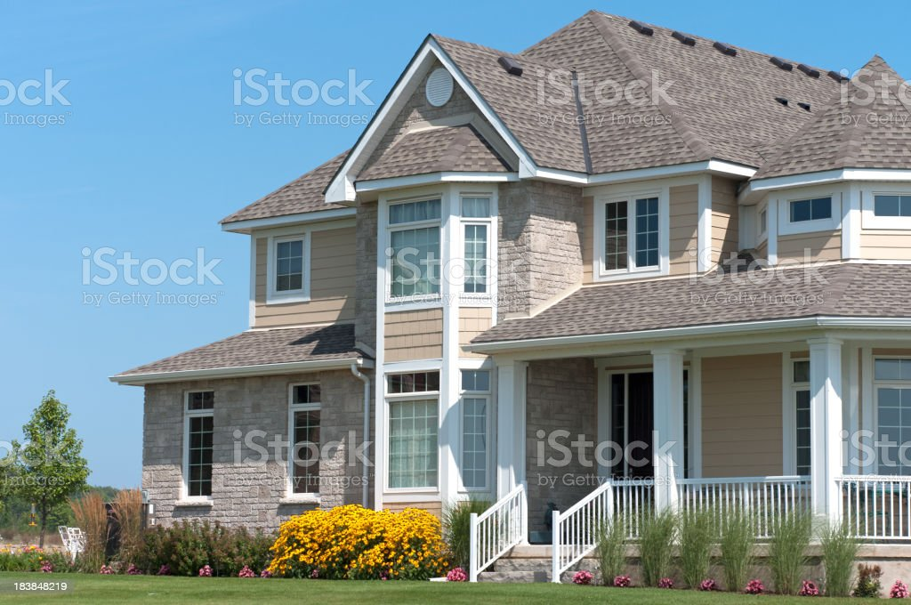 Large House with White Porch royalty-free stock photo