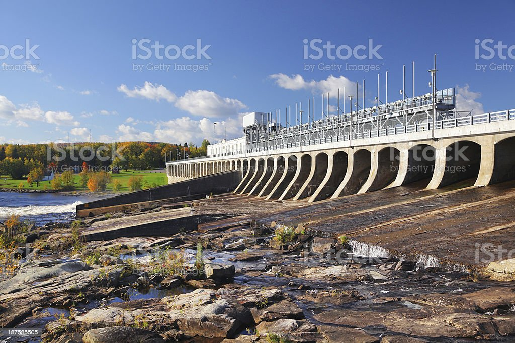 Large Hydro-electric Dam in Saguenay stock photo