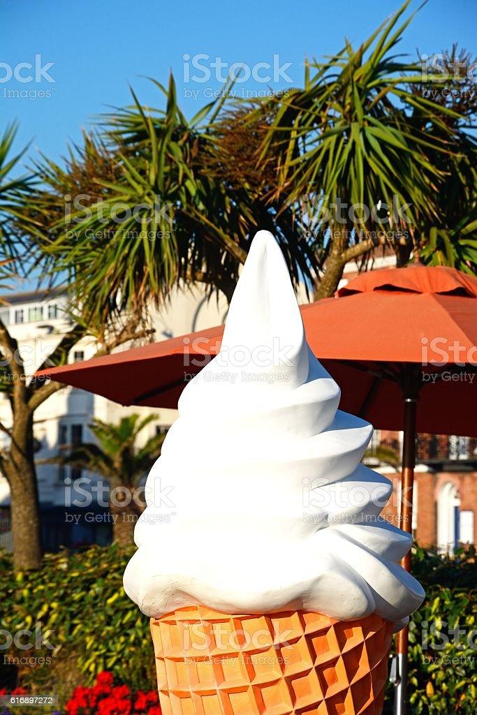 Large ice cream cone along Esplanade, Weymouth. stock photo