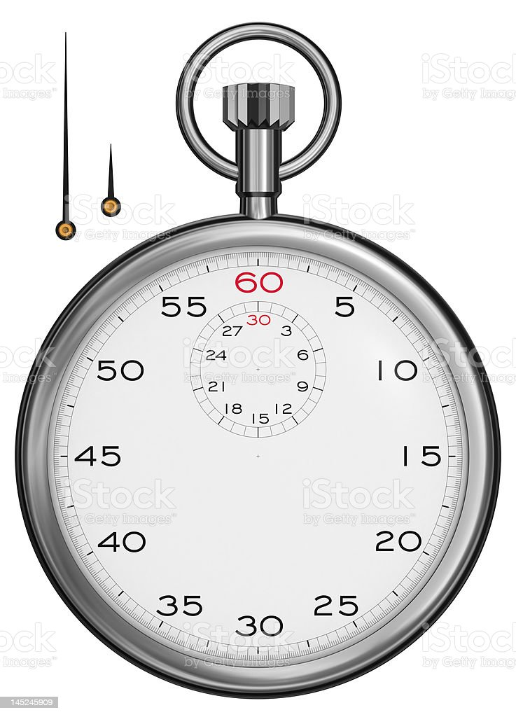 A large image of a silver stopwatch stock photo