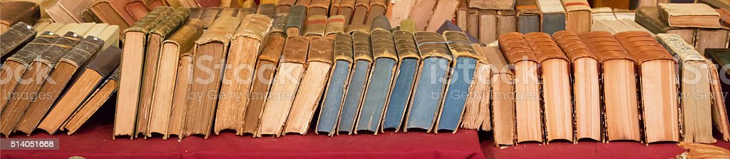 Large image of old books stock photo