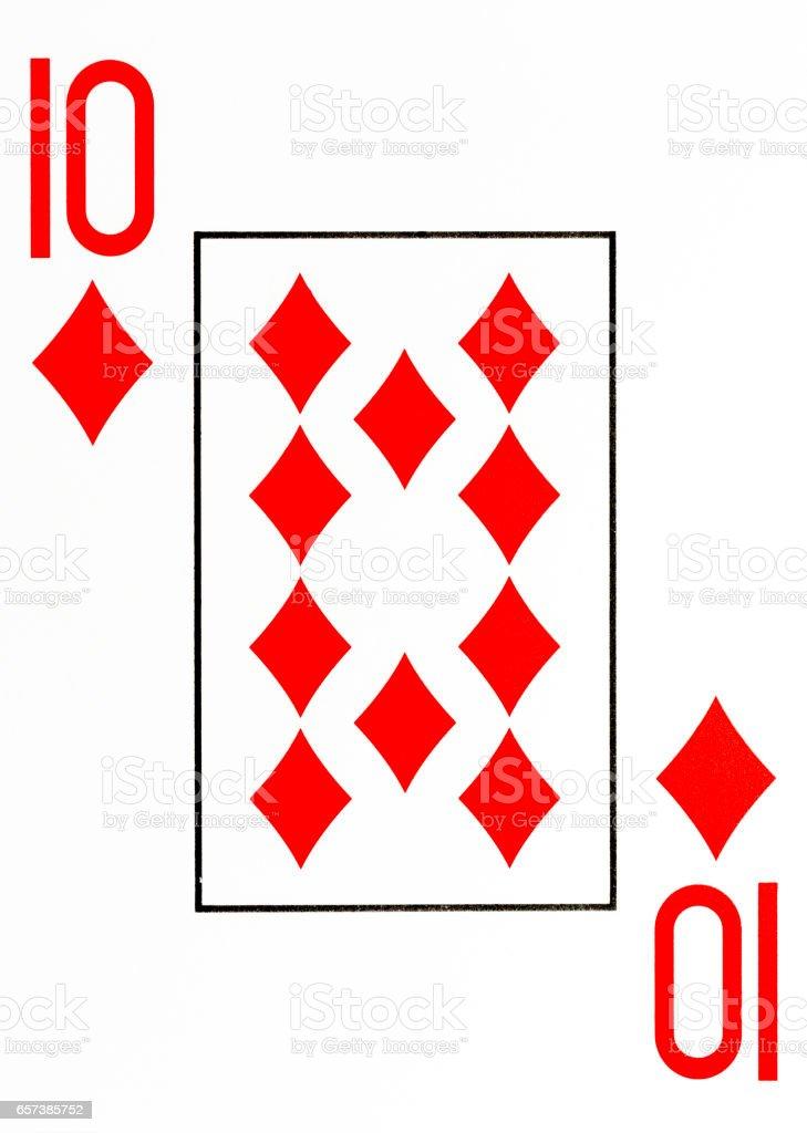 large index playing card 10 of diamonds stock photo