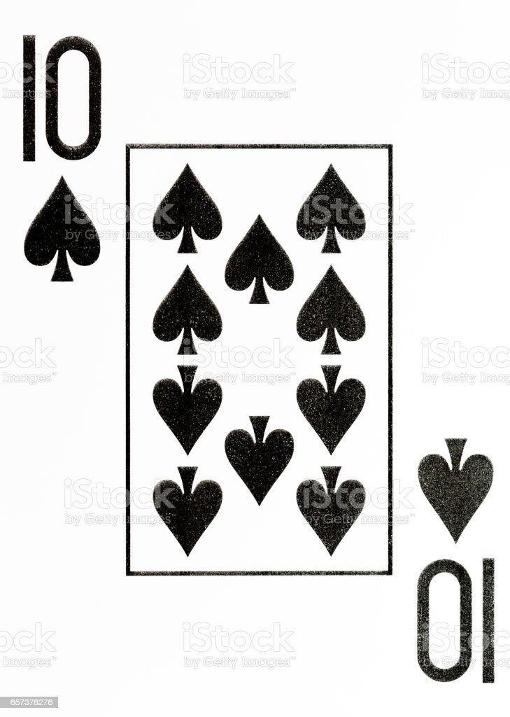 large index playing card 10 of spades stock photo