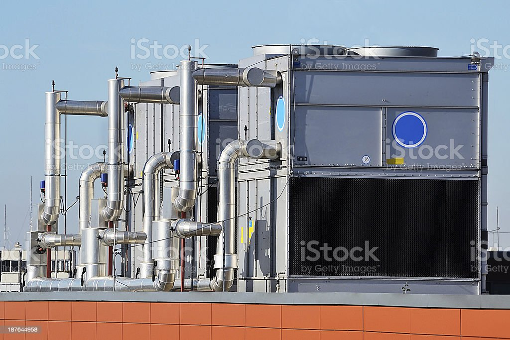 Large industrial air conditioning units stock photo