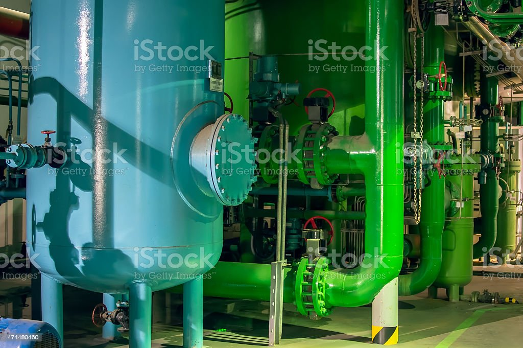 Large industrial boiler room stock photo