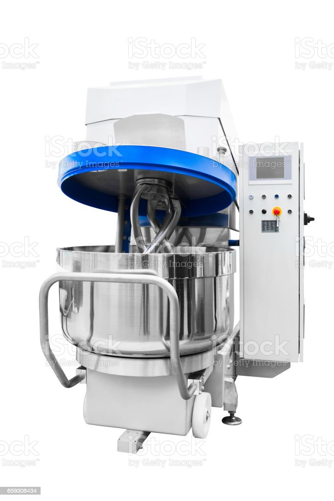 Large Industrial dough mixer in bakery stock photo