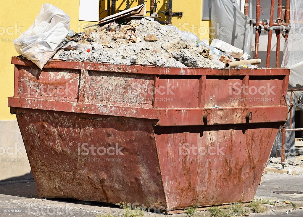 Large industrial garbage can stock photo