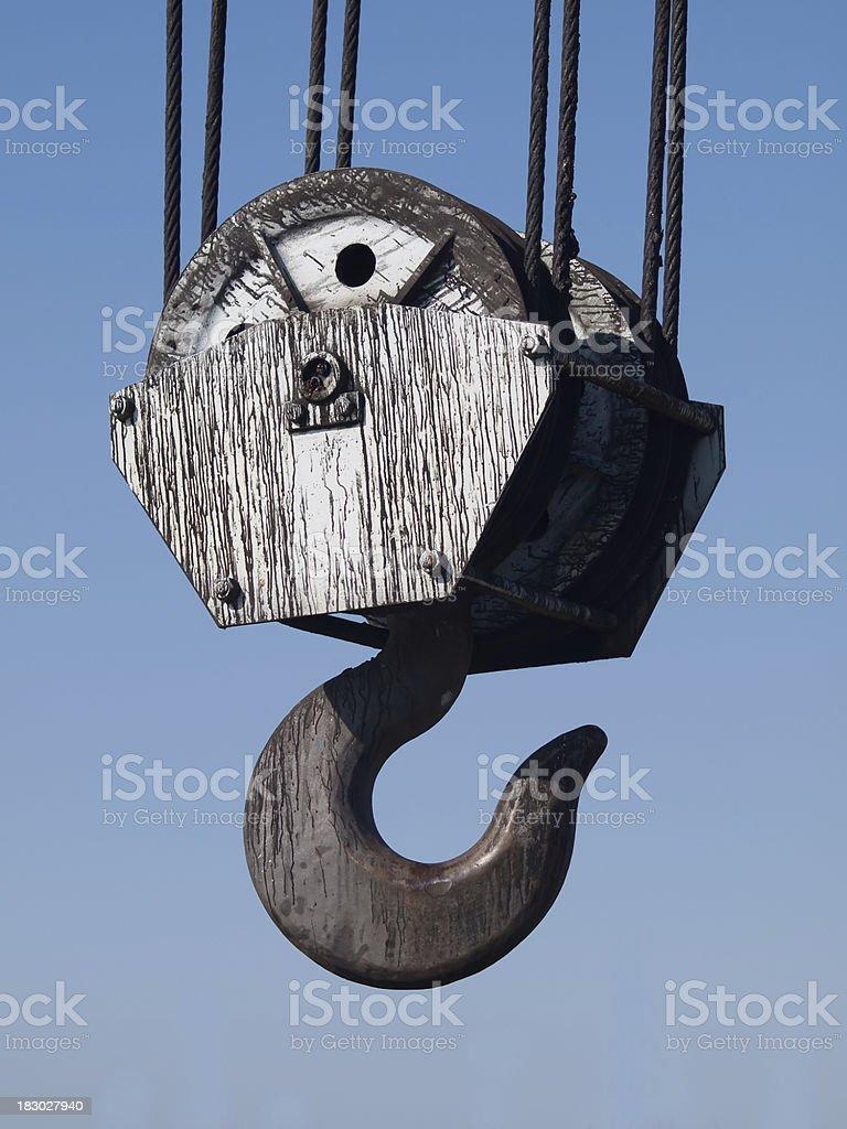 Large industrial hook on crane stock photo