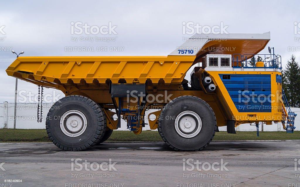 Large Industrial Mining Dump Truck BelAZ Background stock photo