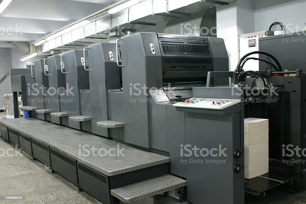 Large industrial offset machine stock photo