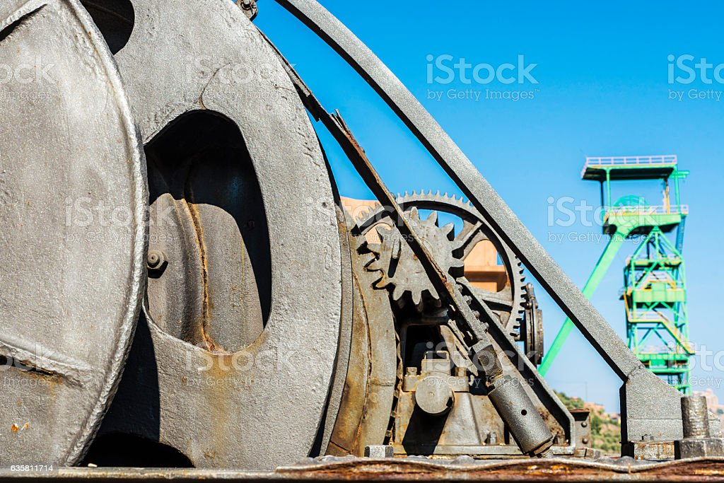 Large industrial pulley system with sprockets stock photo