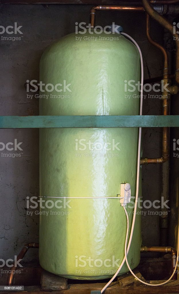 Large insulated hot water tank stock photo