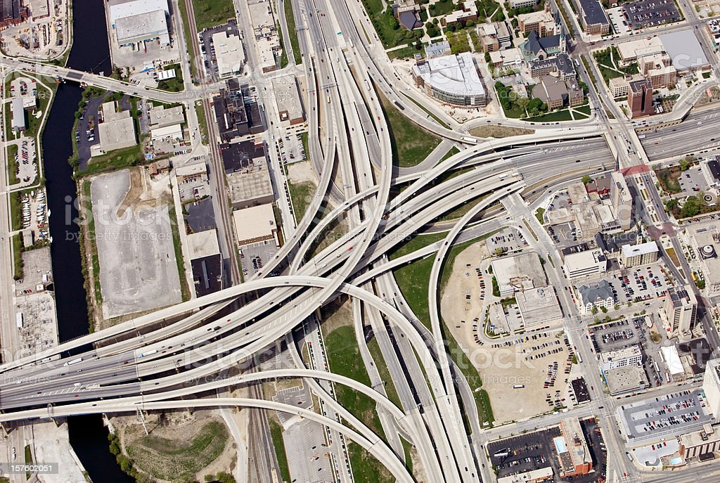 Large Interstate Highway Interchange in Downtown Milwaukee Wisconsin royalty-free stock photo