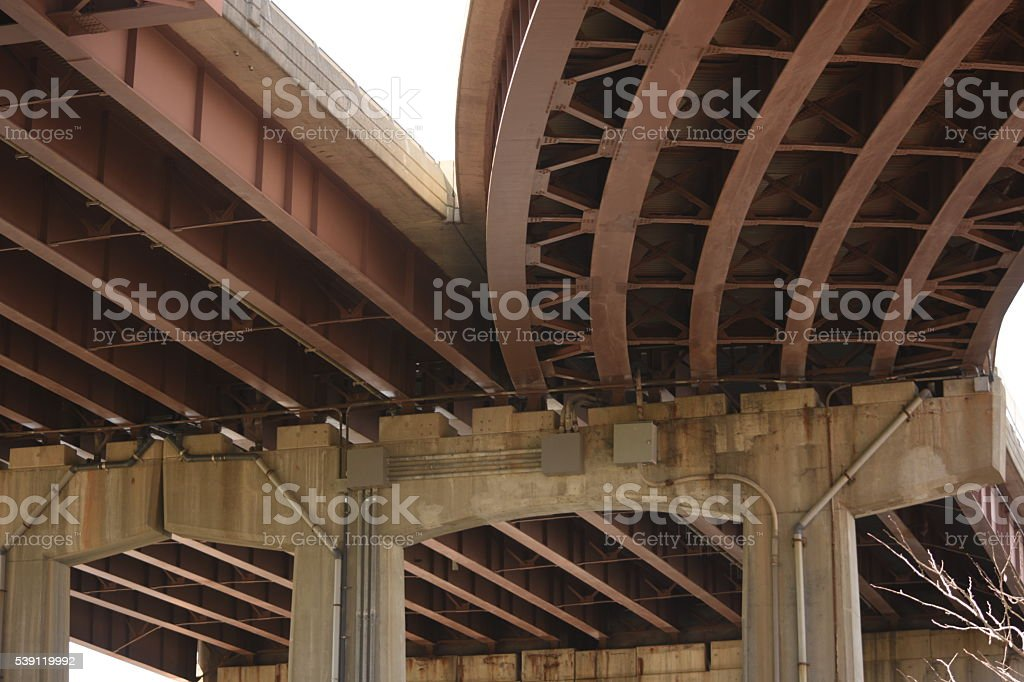 Large iron bridge underbelly stock photo