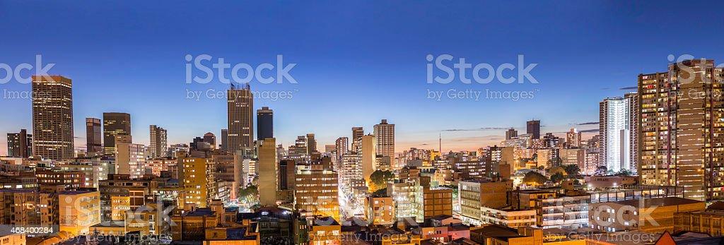 Large Johannesburg sunset panorama stock photo