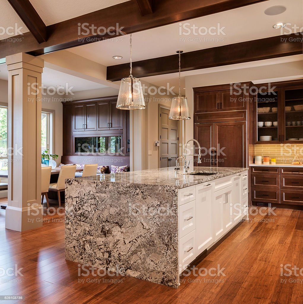 Large Kitchen in Luxury Home with Island stock photo