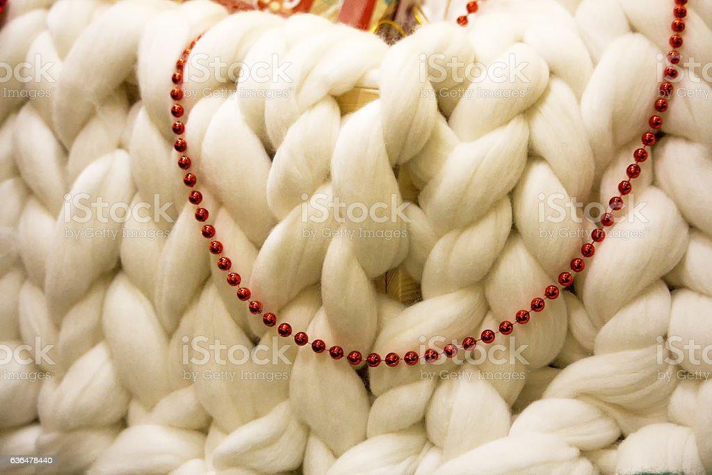 large knit scarf. White background stock photo