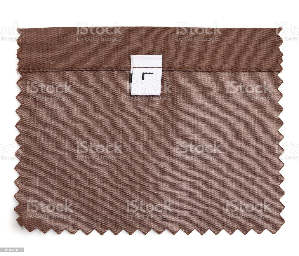 Large Labeled Brown Fabric Swatch royalty-free stock photo