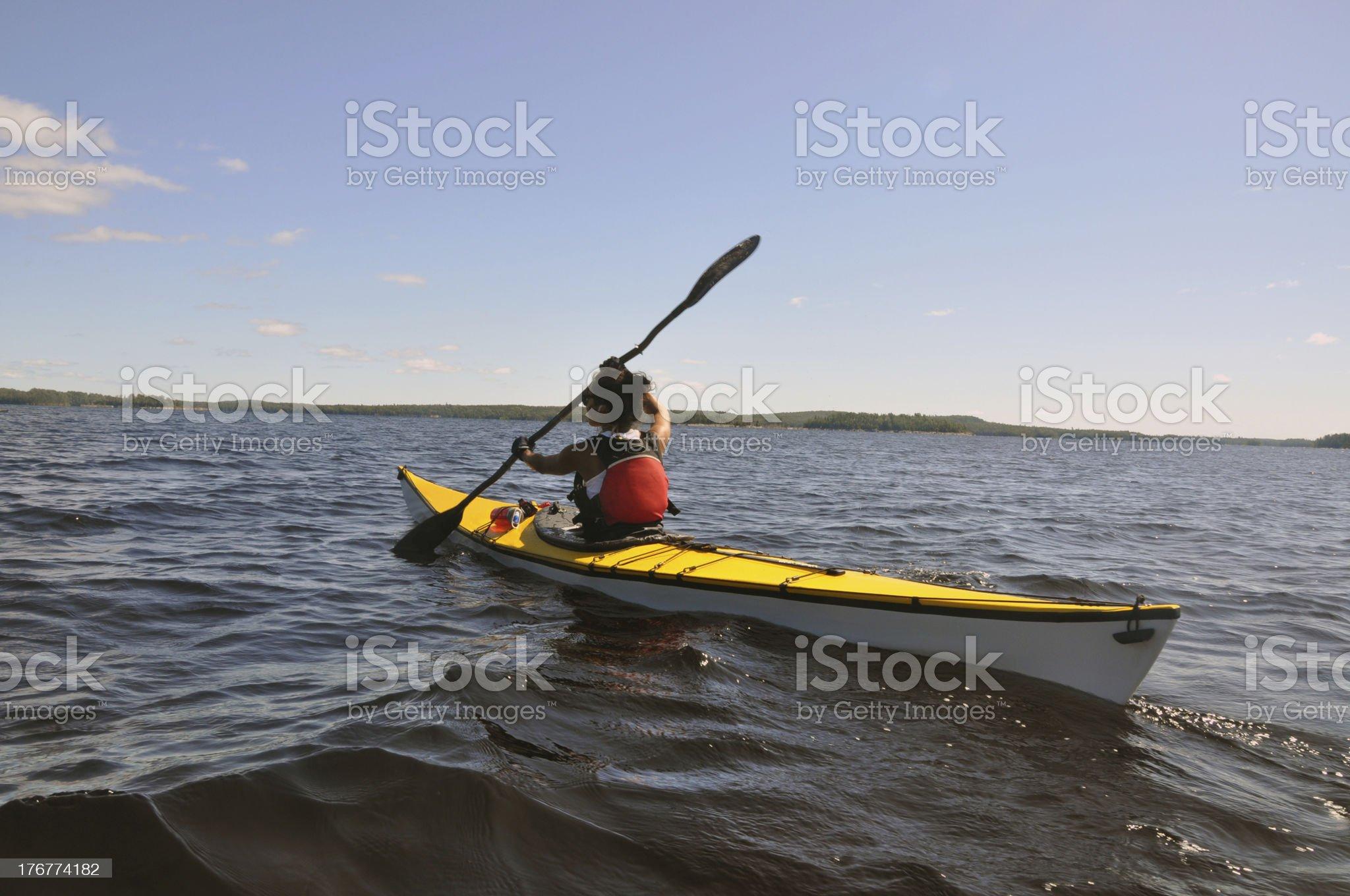 Large Lake Kayaker royalty-free stock photo