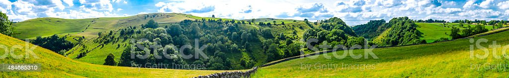 Large landscape panorama of the English Peak district stock photo