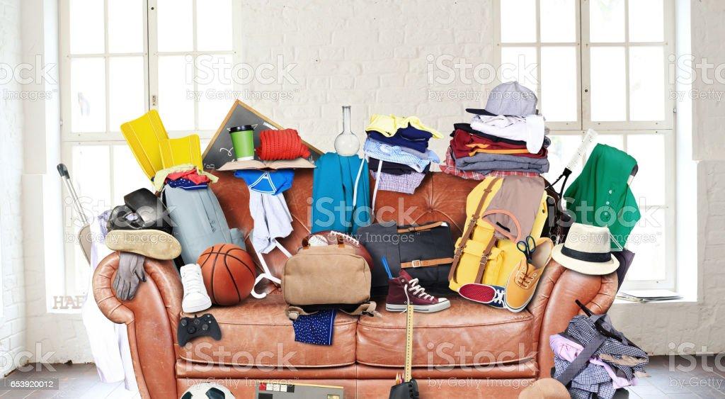 Large leather sofa stock photo