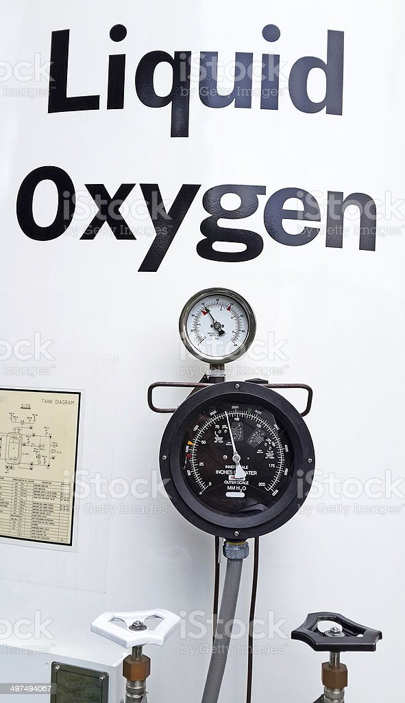 large liquid oxygen tank with Air Pressure Scale stock photo