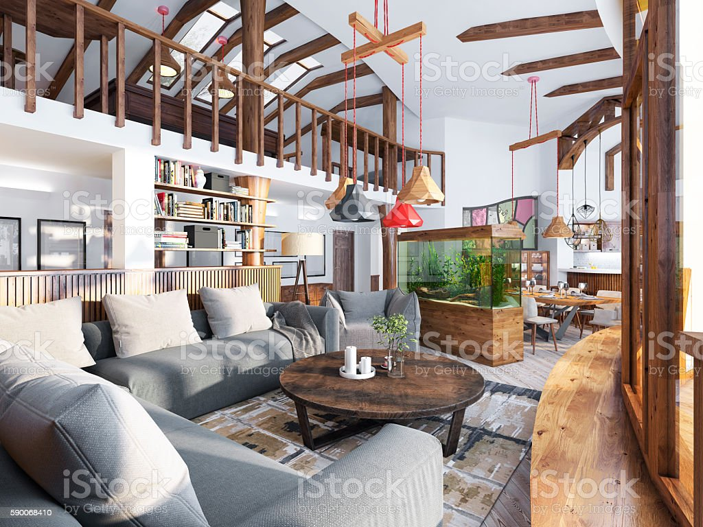 Large living room studio with a kitchenette stock photo