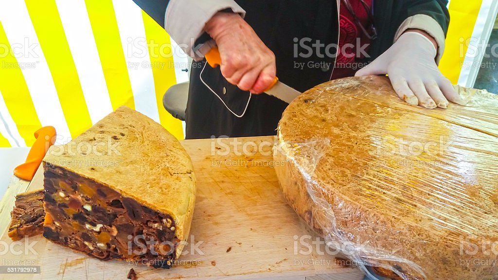 Large loaf of bread fruit stock photo