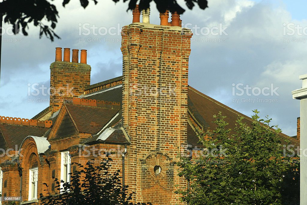 Large London Red Brick House in sunshine royalty-free stock photo