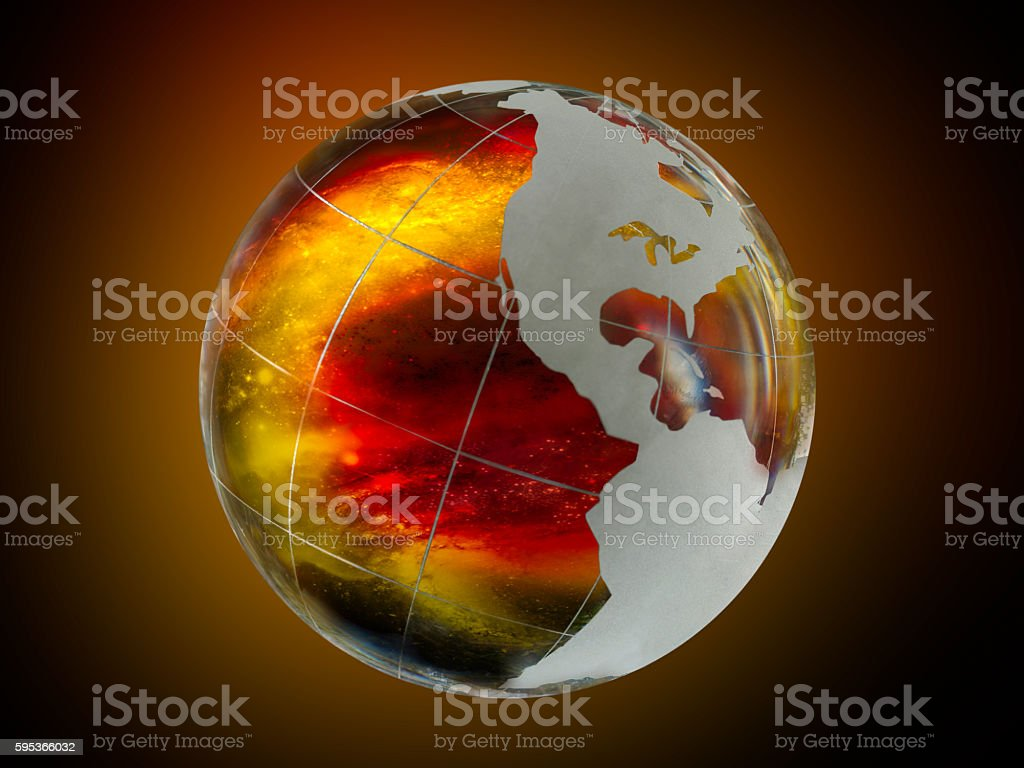 Large, luminous ball - the planet earth stock photo