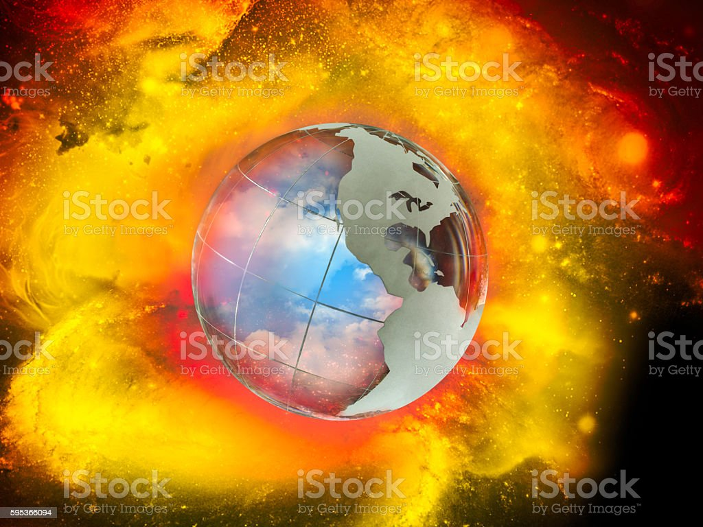 Large, luminous ball - the planet earth. stock photo