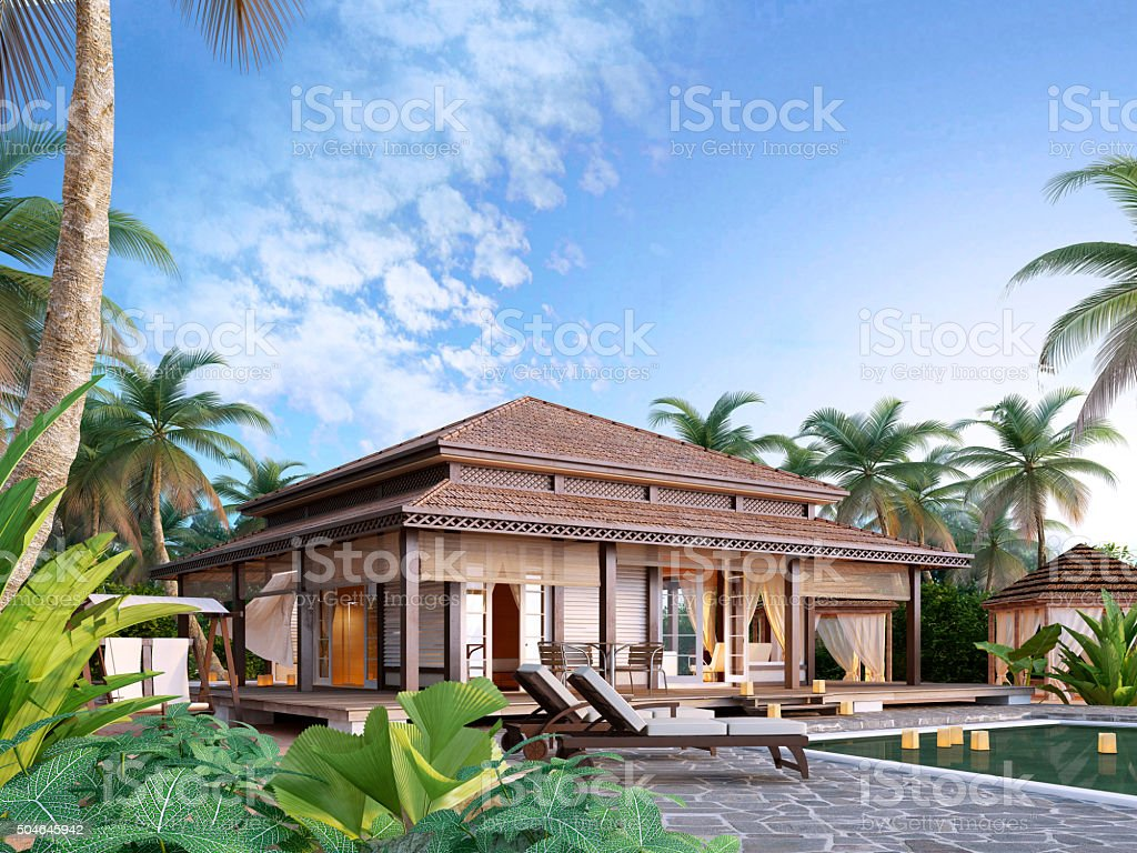 Large luxury bungalows on the islands. stock photo
