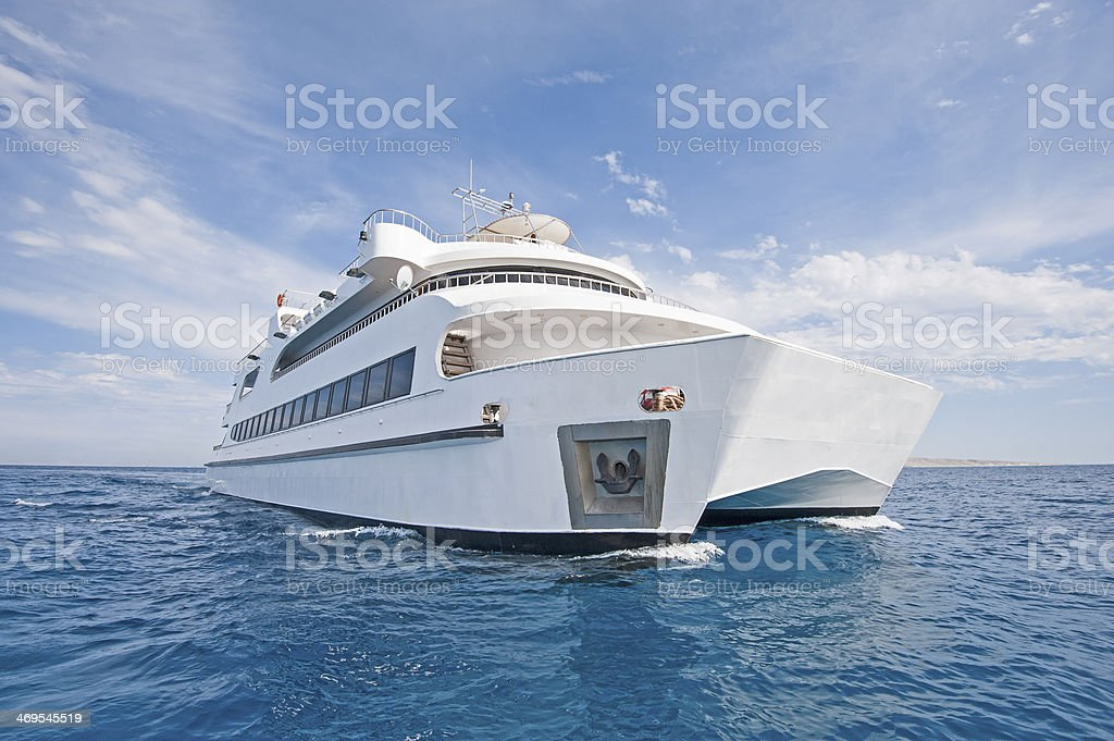 Large luxury catamaran at sea stock photo