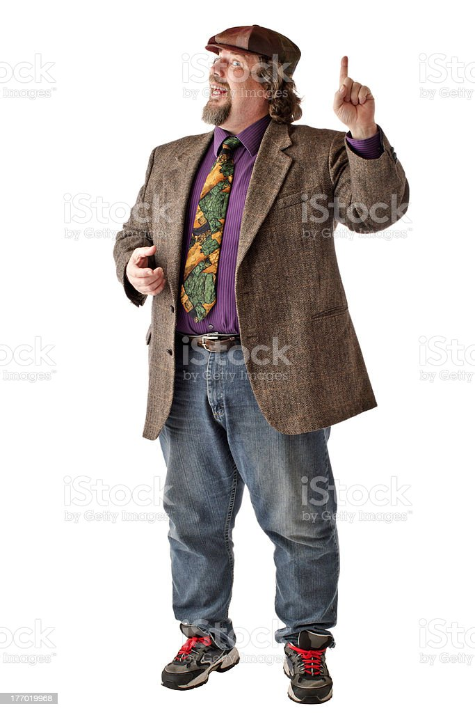 Large man stands with index finger raised stock photo