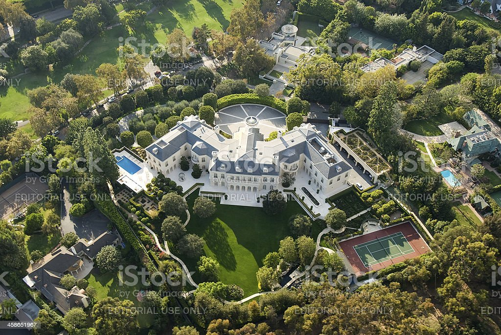 Large Mansion in Holmby Hills (Los Angeles), California stock photo