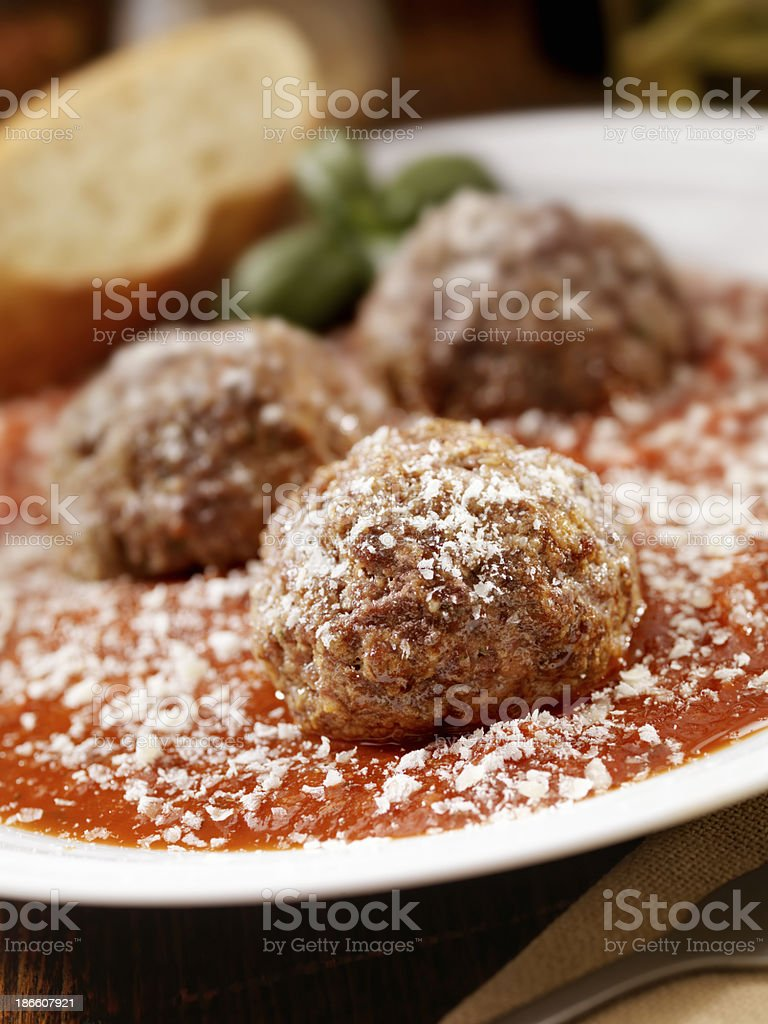 Large Meatballs in a Marinara Sauce royalty-free stock photo
