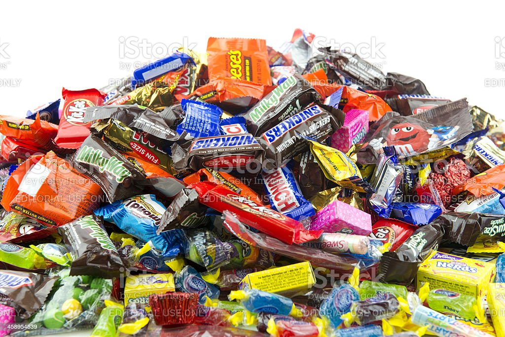 Large messy pile of candy stock photo
