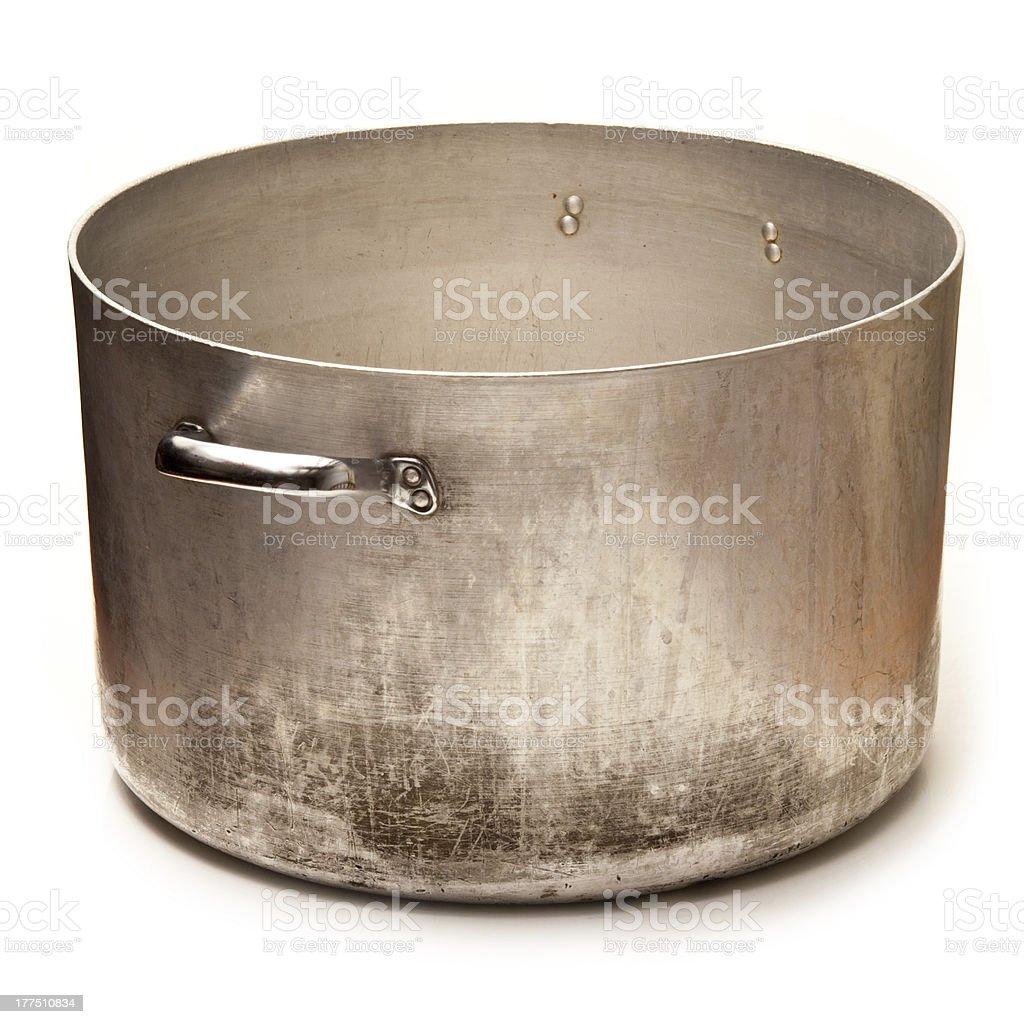 Large metal sausepan stock photo