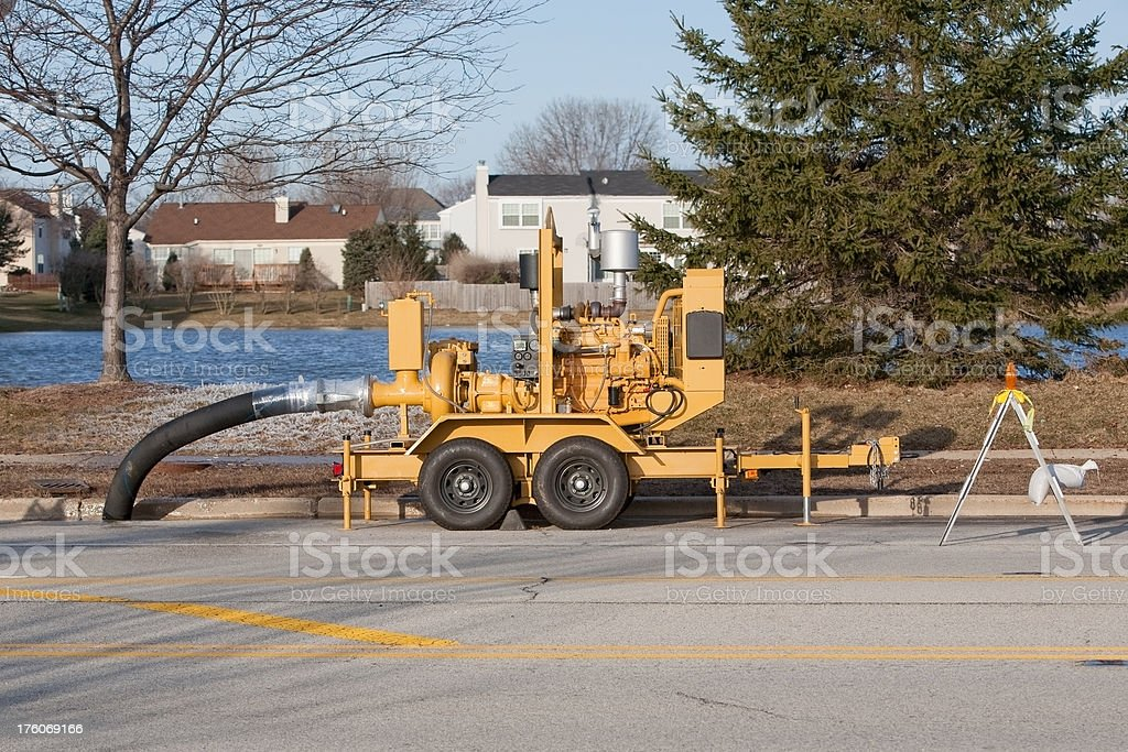 large mobile pump on trailer stock photo