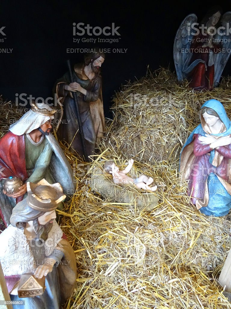 Large model Christmas nativity scene, Mary, Joseph, baby Jesus, stable stock photo